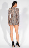 What A Charmer Brown Snake Print Animal Pattern Long Sleeve Plunge V Neck Romper Playsuit
