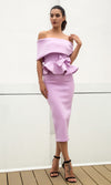 Status Quo Light Purple Off The Shoulder Fold Over Peplum Bow Bodycon Two Piece Midi Dress