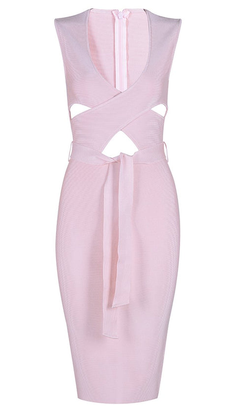 Last Minute Sleeveless Cross Wrap V Neck Cut Out Tie Waist Bodycon Bandage Midi Dress - 2 Colors Available