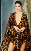 Oh So Dramatic Leopard Pattern Full Long Sleeve Plunge V Neck Cape Romper Playsuit