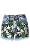 In The Weeds Blue Denim Marijuana Patchwork Frayed Denim Short - Sold Out