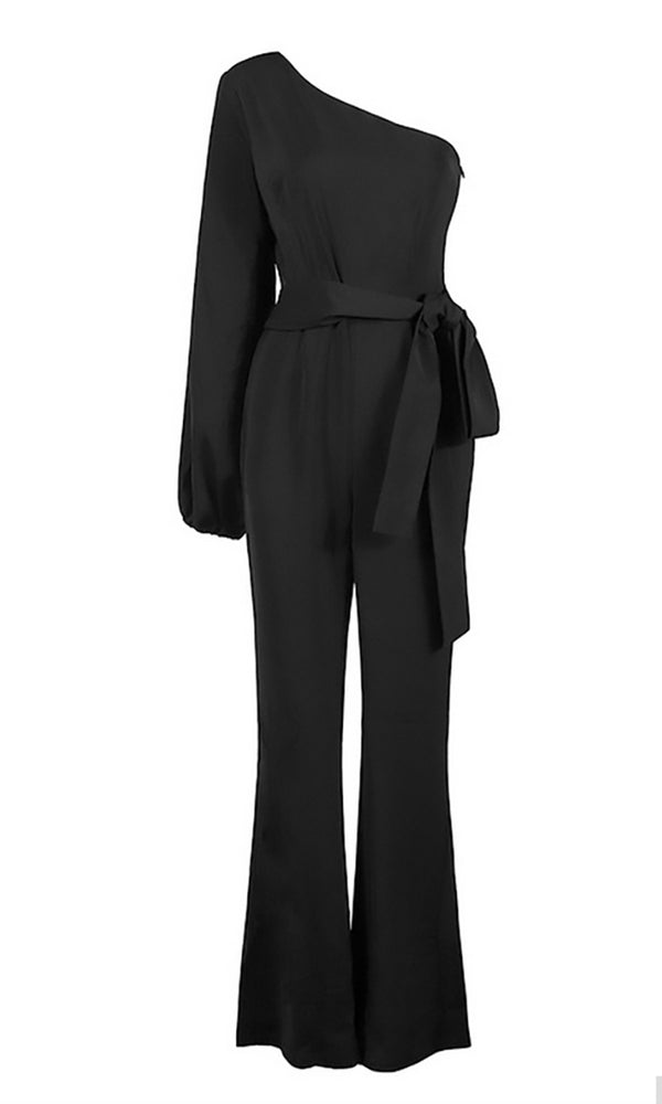I'll Decide Black Long Sleeve One Shoulder Tie Belt Flare Leg Jumpsuit