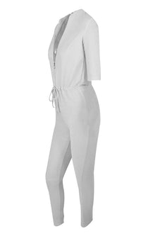 Chic Move White Metallic 3/4 Sleeve Plunge V Neck Zip Front Drawstring Waist Bodycon Jumpsuit - Sold Out