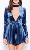 True To Form Blue Velvet Long Sleeve Mock Neck Cut Out Plunge Short Romper Playsuit - Sold Out