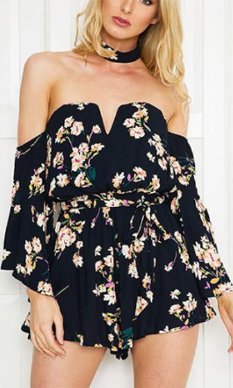 You Have My Heart Navy Blue Pink Yellow Floral Choker 3/4 Sleeve Off The Shoulder V Neck Romper Playsuit