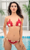 Join The Club Red Beaded Lace Chain Strap Triangle Brazilian Tie Side Bikini Two Piece Swimsuit