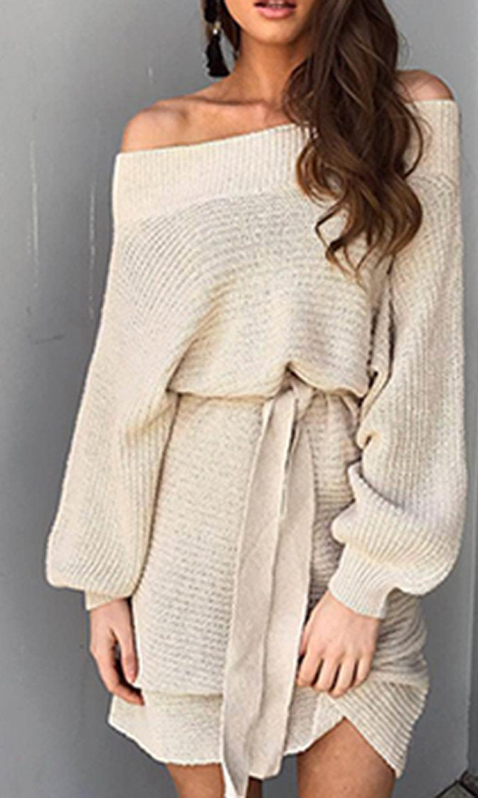 So One Sided Long Sleeve Off The Shoulder Bow Belt Sweater Knit Mini Dress - 2 Colors Available