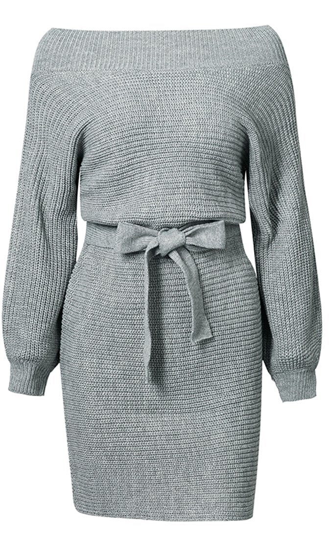 So One Sided Long Sleeve Off The Shoulder Bow Belt Sweater Knit Mini Dress - 2 Colors Available - Sold Out