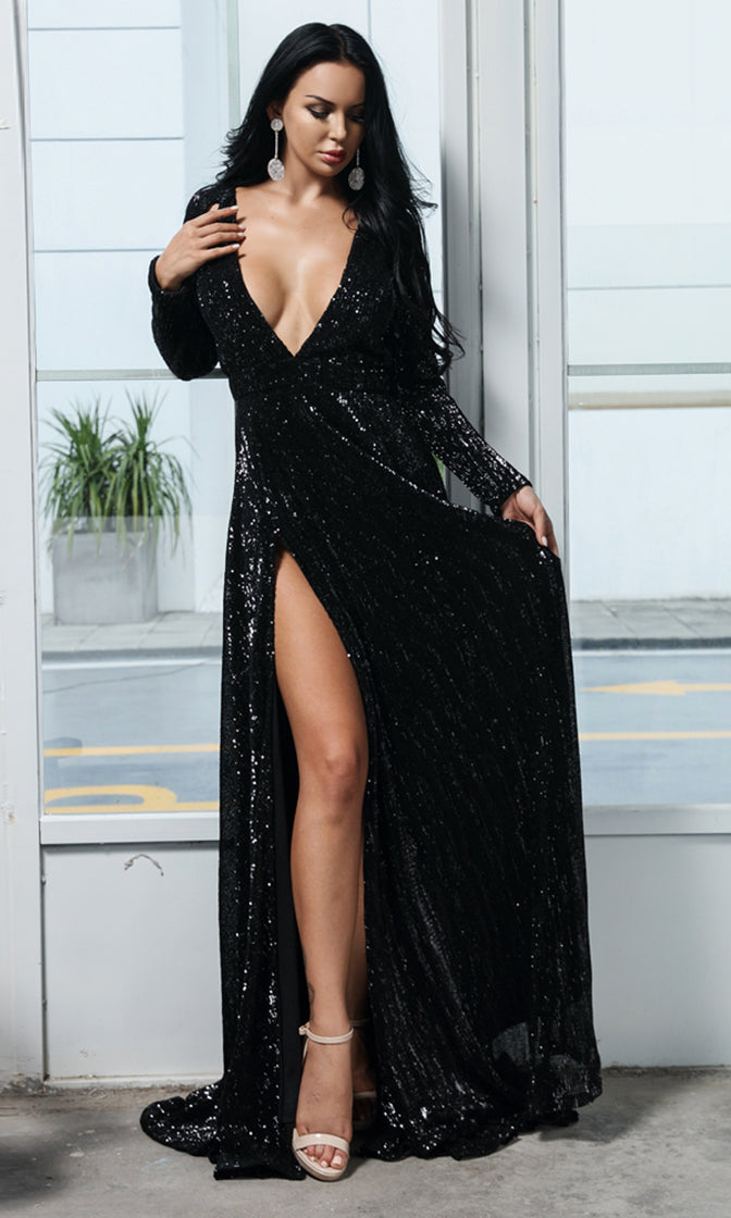 In Dramatic Fashion Black Sequin Long Sleeve Plunge V Neck Cut Out Double Slit Maxi Dress