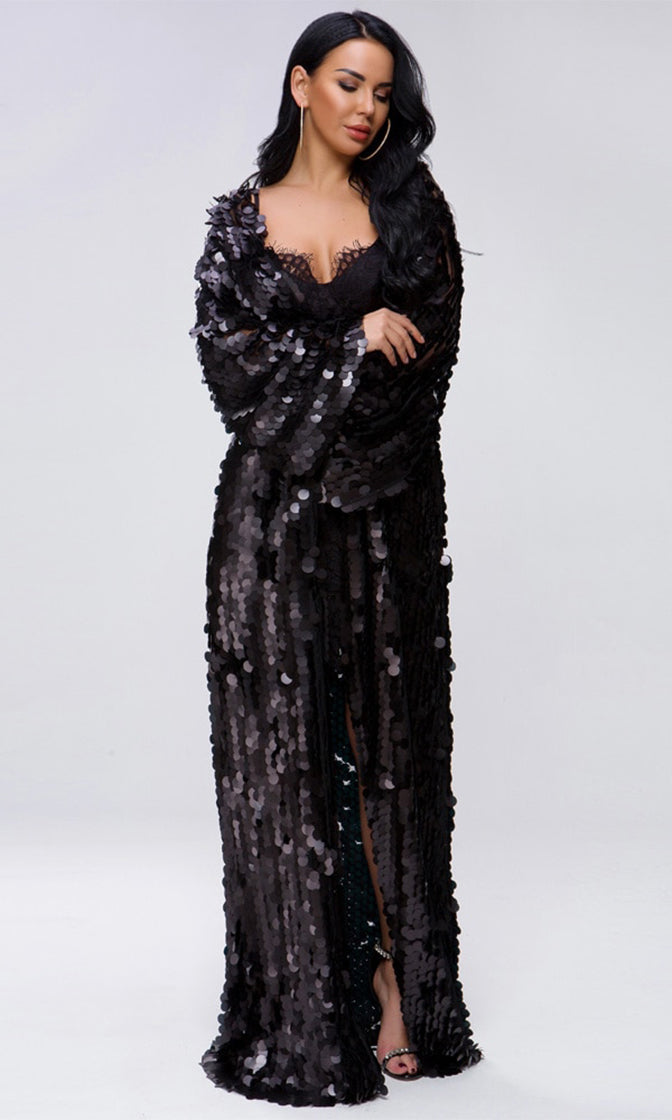 Off The Record Black Sequin Long Bell Sleeve Open Front Cardigan Maxi Dress
