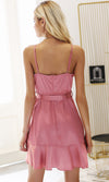 All That Ruffles Pink Satin Sleeveless Spaghetti Strap Cross Wrap V Neck Ruffle Mini Casual Dress - Sold Out
