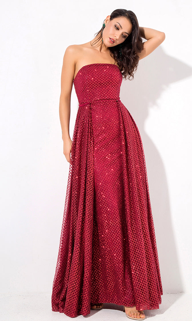 All This Time Red Wine Burgundy Glitter Geometric Pattern Strapless A Line Maxi Dress