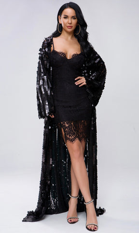 d00271fc0a26 Off The Record Black Sequin Long Bell Sleeve Open Front Cardigan Maxi Dress