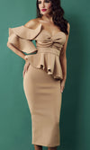 Be Faithful Burgundy One Shoulder Ruffle Peplum Twist Bodycon Midi Dress - 2 Colors Available