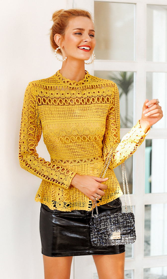 Poised And Polished Long Sleeve Cut Out Lace Mock Neck Peplum Blouse Top - 2 Colors Available