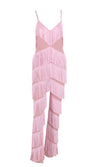 Indie XO Not Holding Back Pink Spaghetti Strap Fringe Mesh Tiered Jumpsuit - 2 Colors Available
