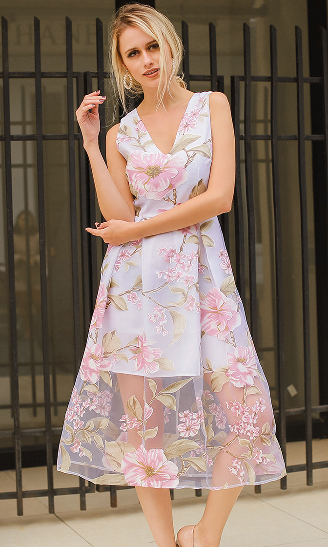 Princess To Be Floral Pattern Sheer Mesh Sleeveless V Neck Pleated A Line Midi Dress - 2 Colors Available