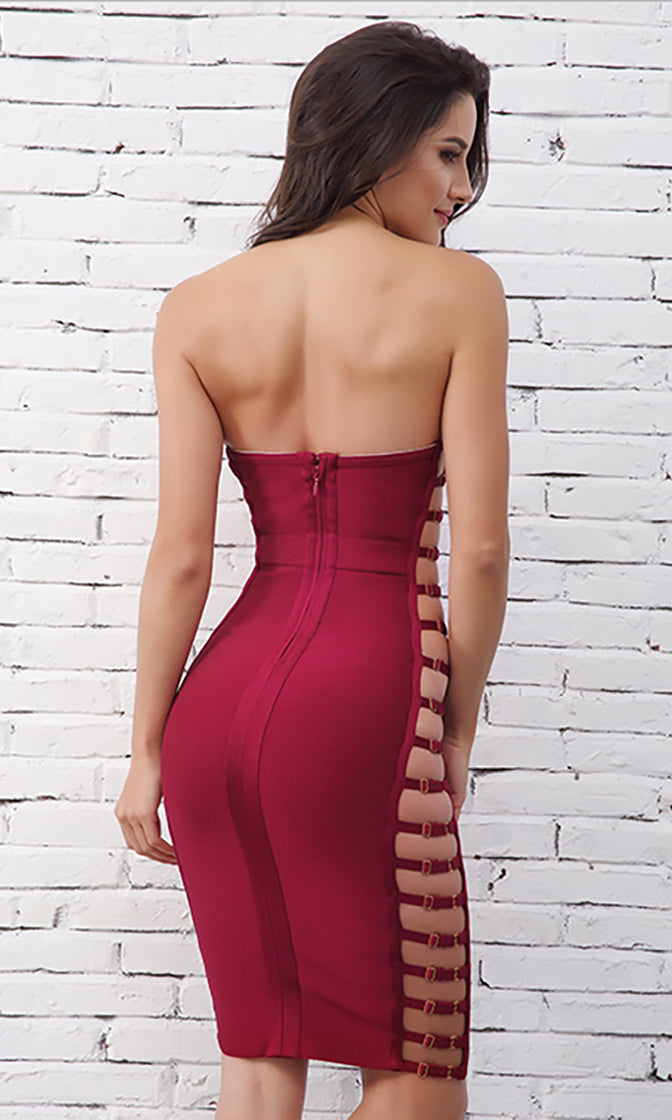 Strung Up Wine Red Strapless Bustier Cut Out Side Straps Bodycon Bandage Mini Dress - Sold Out
