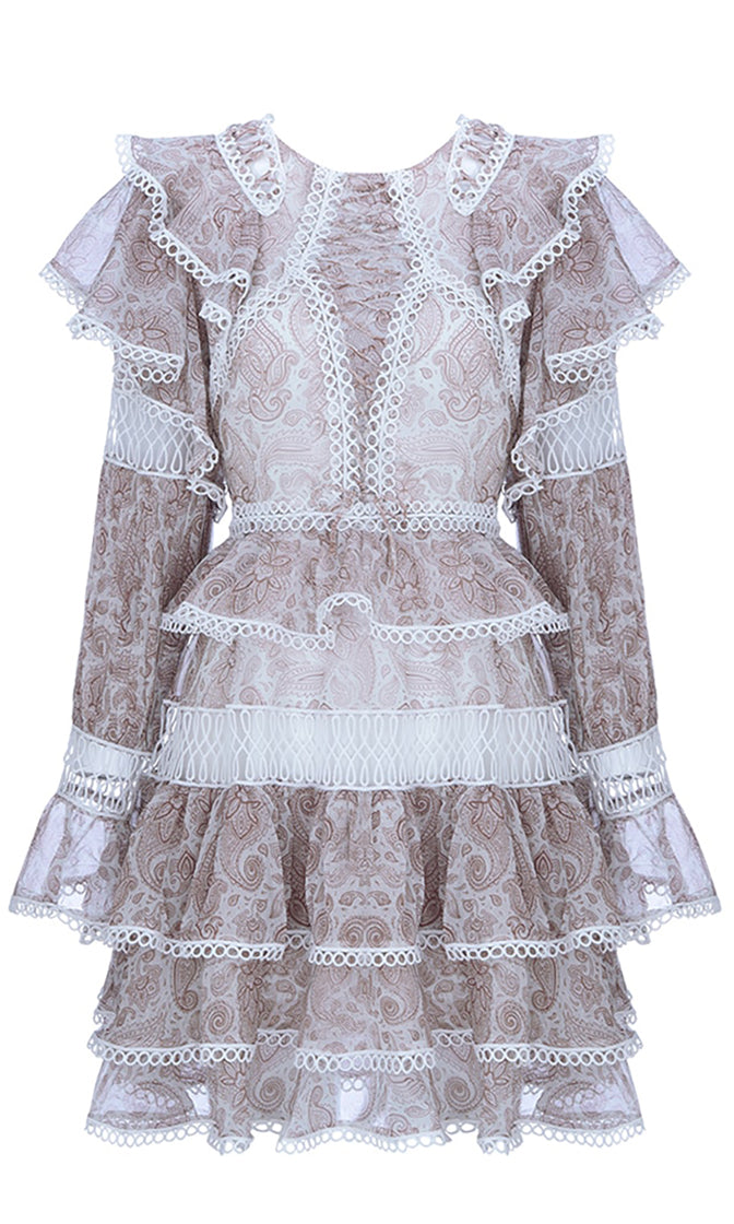 Oh So Proper White Lace Long Sleeve Crew Neck Ruffle Tiered A Line Flare Mini Dress