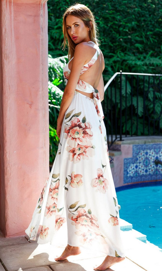 Good Luck Girl Sleeveless Halter White Pink Rose Embroidery Pattern Cut Out Backless High Slit Chiffon Maxi Casual Dress