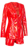 Queen Of The Galaxy Red Patent PU Faux Leather Long Sleeve V Neck Two Piece Romper Set