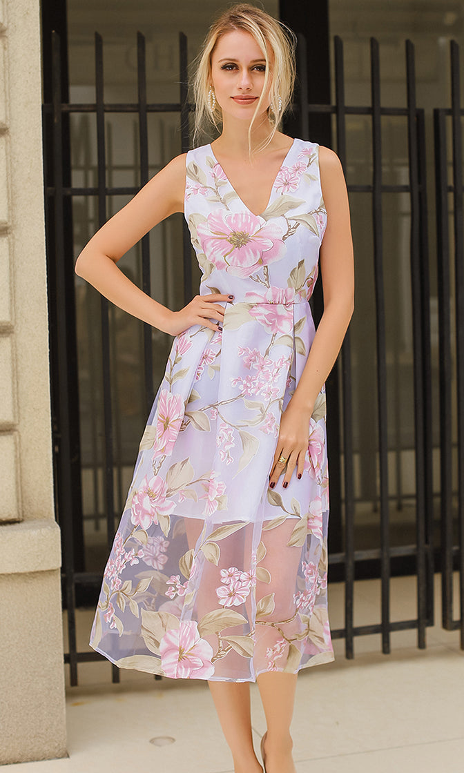 Princess To Be Floral Pattern Sheer Mesh Sleeveless V Neck Pleated A Line Midi Dress - Sold Out