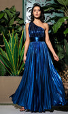 I Feel Pretty Blue Metallic Sleeveless One Shoulder Pleated A Line Maxi Dress