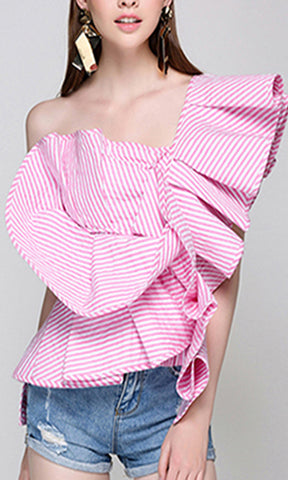 Be Your Best Light Nude Pink Long Bell Sleeve Round Neck Keyhole Tie Waist Blouse Top - Sold Out