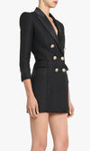 Serious Business 3/4 Sleeve Satin Lapel Double Breasted Gold Button Zipper Bodycon Mini Dress - 2 Colors Available - Sold Out