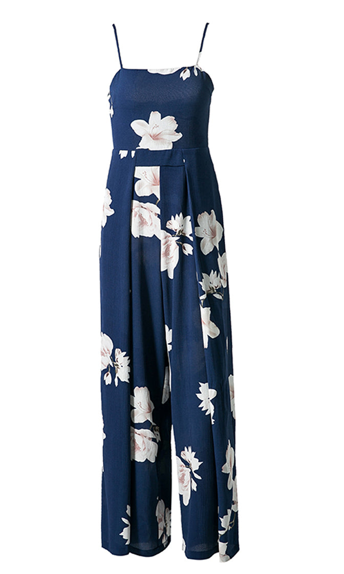 In The Loop Blue Floral Pattern Sleeveless Spaghetti Strap Square Neck Cut Out Back Wide Leg Jumpsuit - Sold Out