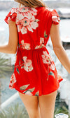 Knot Over You Red Floral Pattern Cap Sleeve V Neck Bow Ruffle Romper Playsuit