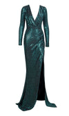 Slow Dance Black Dark Teal Sequin Long Puff Sleeve Cross Wrap V Neck Draped High Slit Maxi Dress