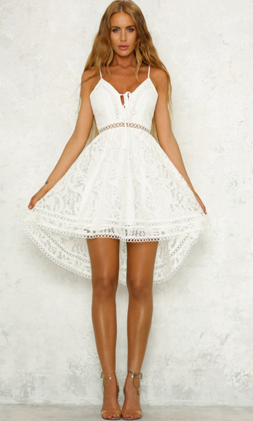 Sweet Tooth Lace Sleeveless Spaghetti Strap V Neck Flare High Low A Line Mini Dress - 5 Colors Available