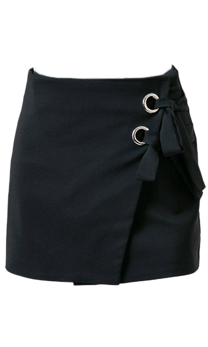 Running In Place High Waist Cross Wrap Grommet Lace Up Mini Skirt - 2 Colors Available