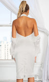 Another Idea Off White Long Sleeve Cold Shoulder Cut Out Mock Neck Draped Pearl Backless Bodycon Midi Dress