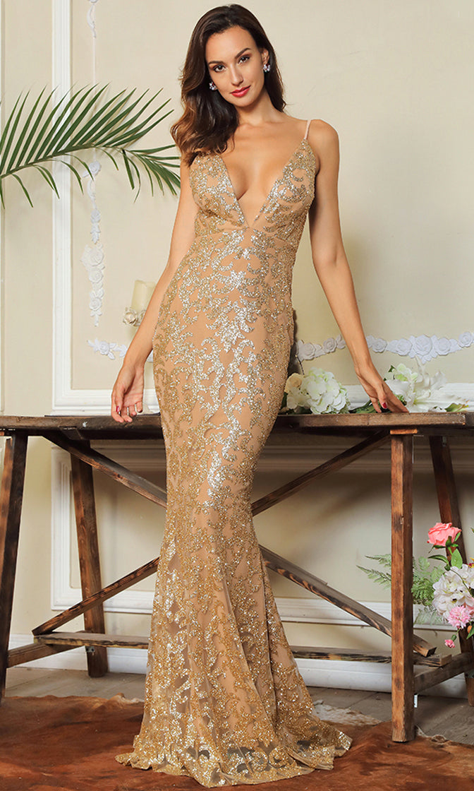 Without A Doubt Brown Gold Glitter Floral Pattern Sleeveless Spaghetti Strap Plunge V Neck Backless Maxi Dress