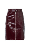 Downtown Meeting PU Faux Leather High Waist Zip Front A Line Midi Skirt - 2 Colors Available - Sold Out