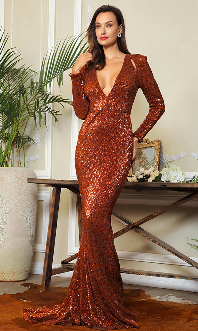 Dangerous Lover Bronze Dark Orange Sequin Long Sleeve Plunge V Neck Cut Out Mermaid Maxi Dress - Last One!