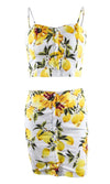 Fruit Punch Lemon Floral Pattern Sleeveless Spaghetti Strap Button Crop Top Two Piece Casual Mini Dress