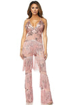 Life's A Party Sequin Fringe Sheer Mesh Sleeveless Spaghetti Strap Plunge V Jumpsuit - 4 Colors Available - Sold Out
