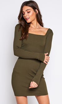 I'm Game Long Sleeve Wide Square Neck Bodycon Casual Mini Dress - 2 Colors Available - Sold Out