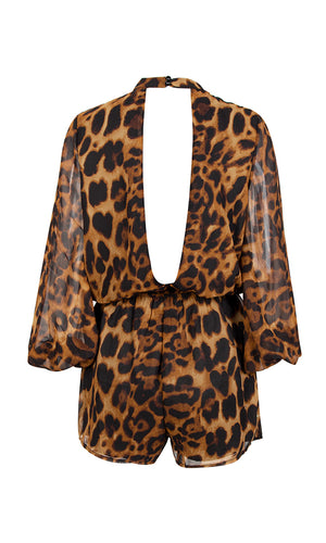 Let's Go Cheetah Print Animal Pattern Long Lantern Sleeve Chiffon Mock Neck Cut Out Back Romper Playsuit