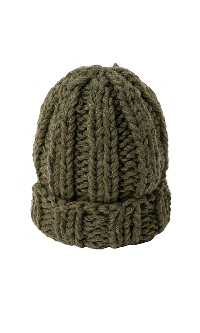 Wooly Mammoth Chunky Knit Rolled Cuff Winter Beanie Hat - 4 Colors Available - Sold Out
