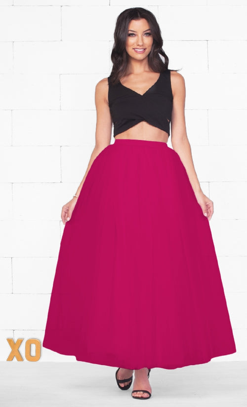 Indie XO Do A Twirl 7 Layer Fuchsia Pink Pleated Elastic Waist Swiss Tulle Ball Gown Maxi Skirt - Just Ours!