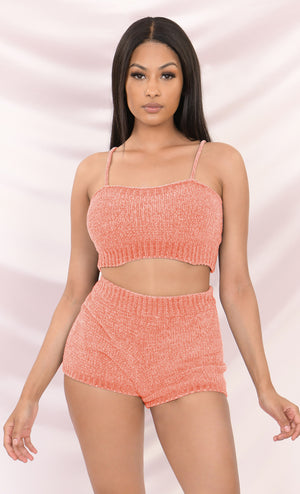 Close To You Vanilla Light Beige Sleeveless Spaghetti Strap Scoop Neck Sweater Chenille Lounge Crop Two Piece Romper Playsuit