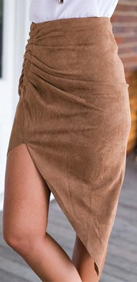 Folk Revival Brown Faux Suede A Line Cut Out Asymmetrical Mini Skirt - Sold Out