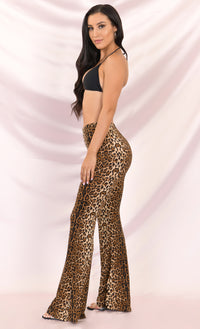 So Extra Leopard Print Animal Pattern High Waist Loose Wide Flare Leg Pants