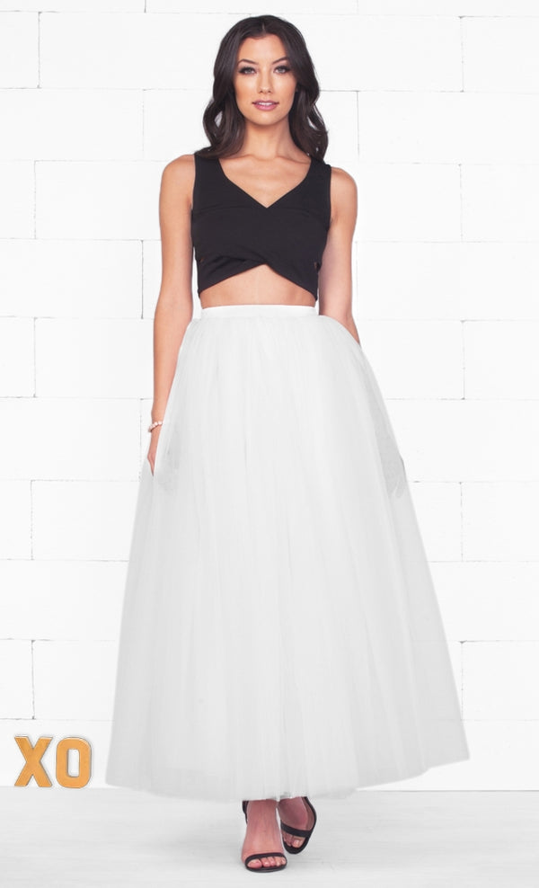 Indie XO Do A Twirl 7 Layer White Pleated Elastic Waist Swiss Tulle Ball Gown Maxi Skirt - Just Ours!