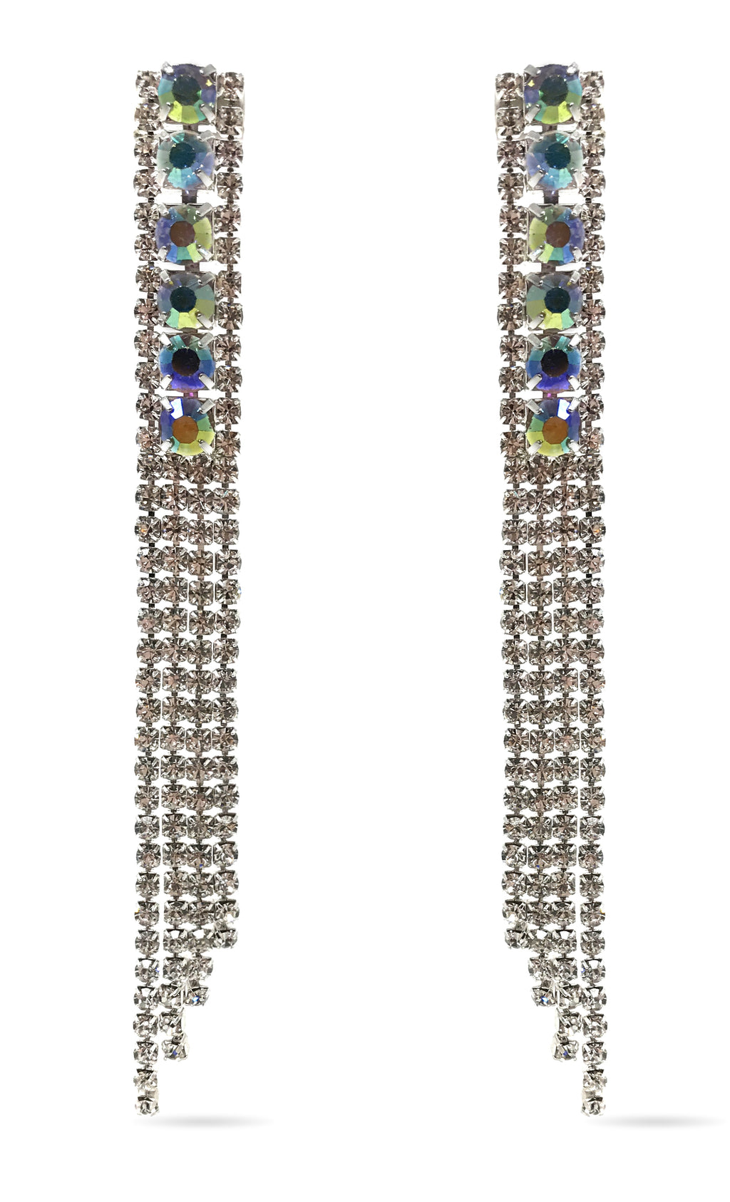 Love Conquers All Waterfall Silver Swarovski Crystal AB Rhinestone Fringe Chandelier Earrings