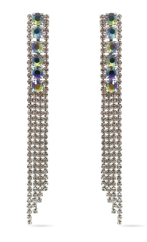 Indie XO Love Conquers All Waterfall Silver Swarovski Crystal AB Rhinestone Fringe Chandelier Earrings